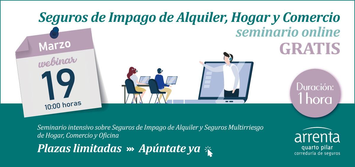 Seminario Online Arrenta sobre Seguros de Impago de Alquiler, Hogar y Comercio